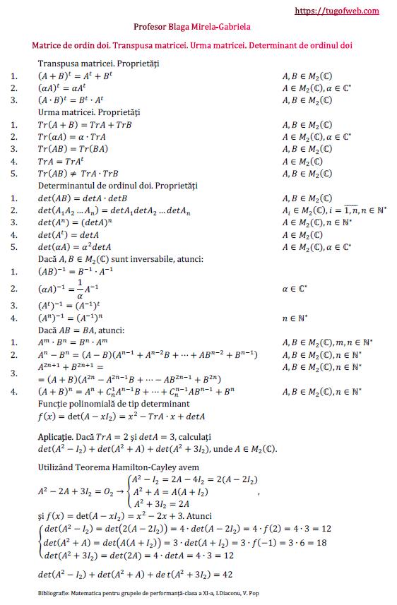 Matrice de ordin doi. Transpusa matricei. Urma matricei. Determinant de ordinul doi