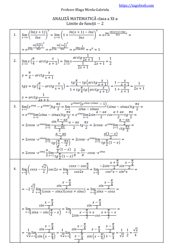 limite de functii - 2