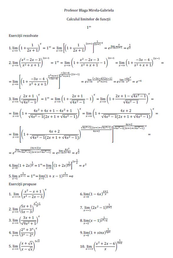Calculul limitelor de funcţii-3