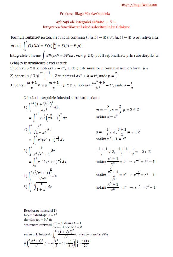Aplicatii ale integralei definite - 7 - integrarea functiilor utilizand substitutiile lui Cebasev.png
