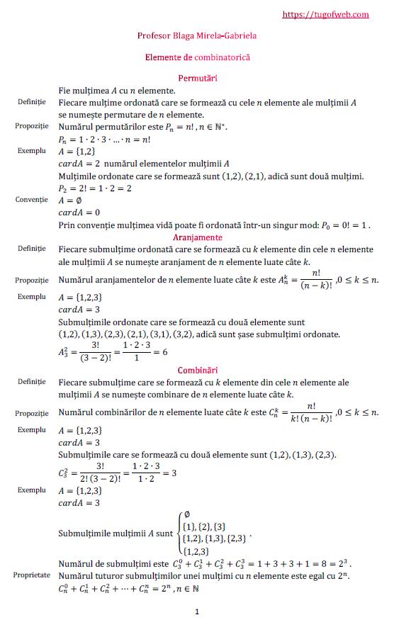 Elemente de combinatorica. Permutari. Aranjamente. Combinari