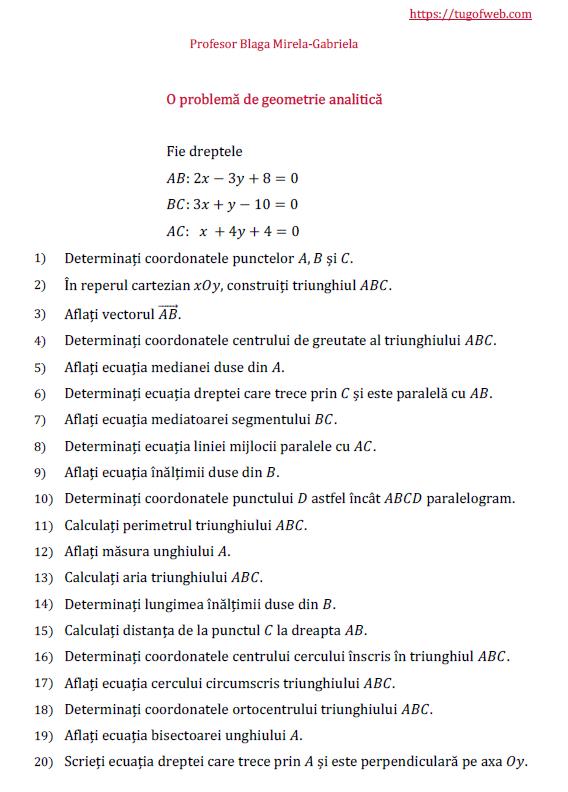 O problema de geometrie analitica