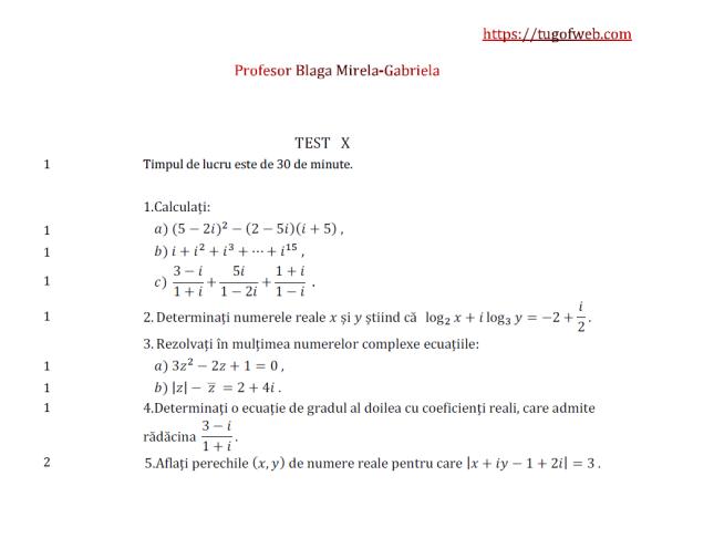 10 Forma algebrica a unui numar complex