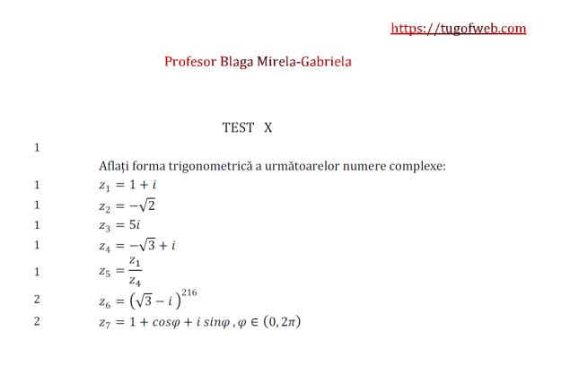 10 Forma trigonometrica a unui numar complex